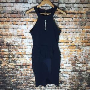 Blue Blush Sleeveless Keyhole Dress Women (M)